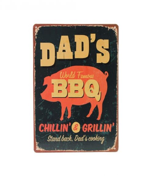 Dad's World Famous BBQ - metalen bord