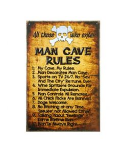 Man Cave Rules - metalen bord