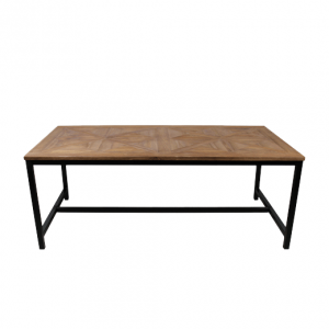 Eettafel Mozaiek - 220x100 cm - blank - teak - HSM Collection