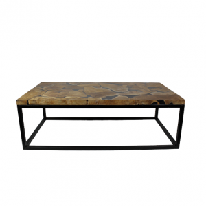 Salontafel rechthoek - black resin - teakijzer HSM Collection