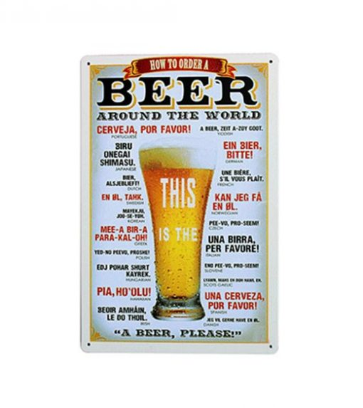 How to order a beer - metalen bord