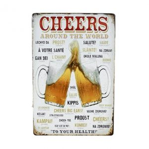 Cheers around the world - metalen bord