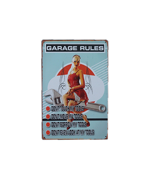 Mancave bord - Garage Rules, don't touch my tools