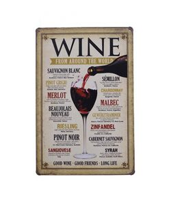 Wine from around the world - metalen bord