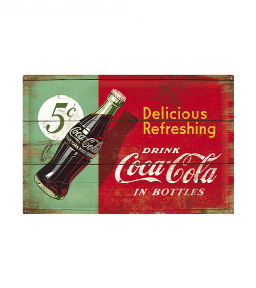 Coca Cola Delicious refreshing - metalen bord