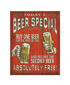Mancave bord - Today's beer special