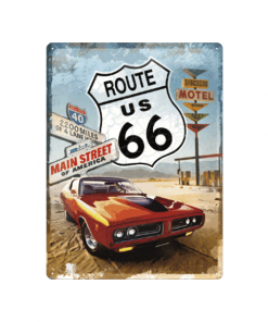 Route 66 car - metalen bord