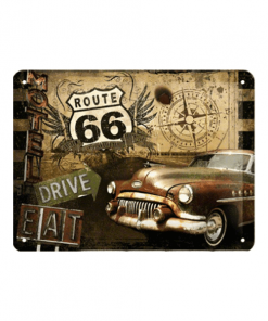 Route 66 collage - metalen bord