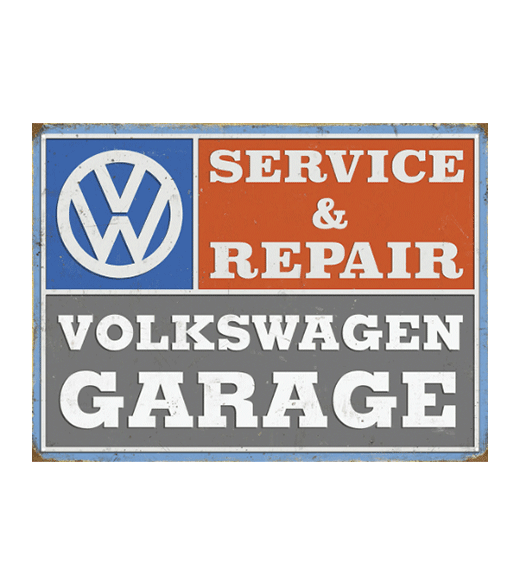 Volkswagen service and repair - metalen bord