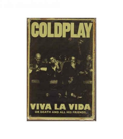 Coldplay - metalen bord