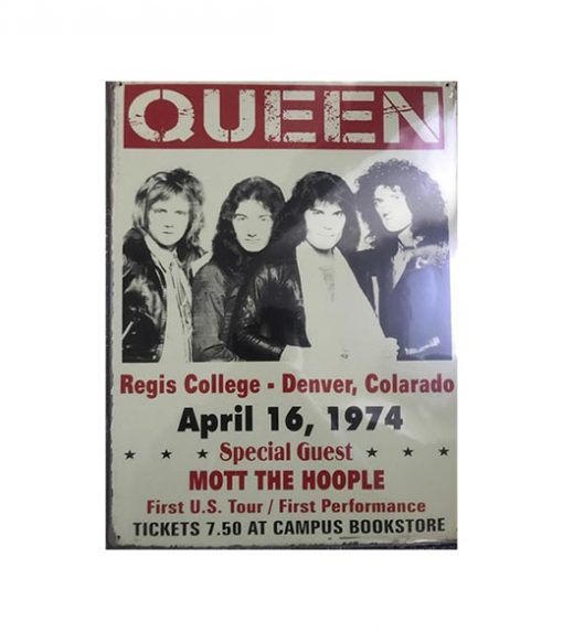 Queen 1974 - metalen bord