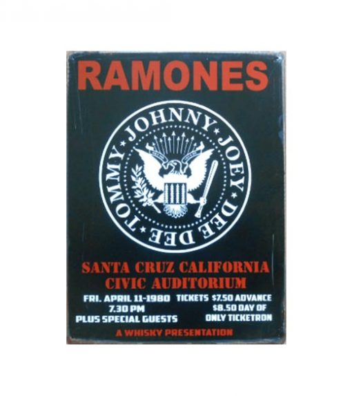 Ramones Santa Cruz California - metalen bord