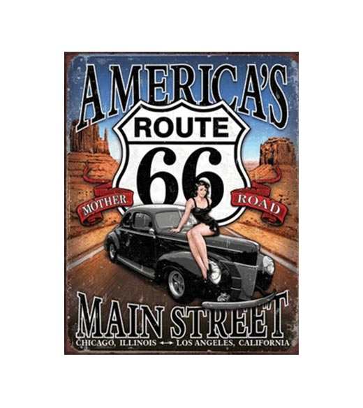 Route 66 Mother road - metalen bord