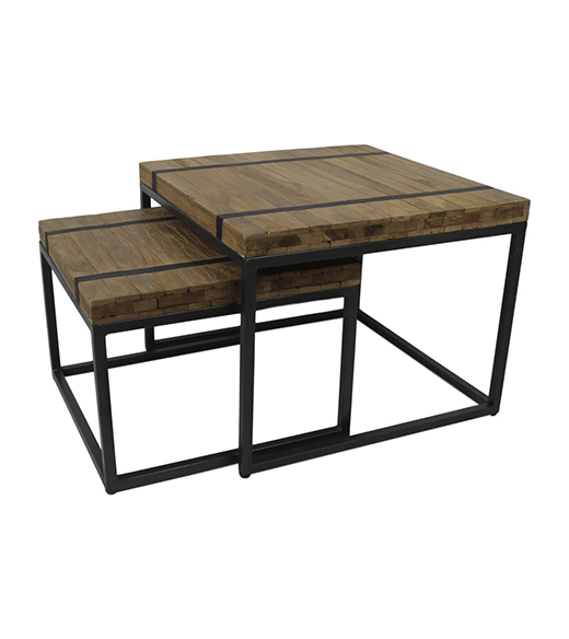 Salontafel teak industrieel - HSM Collection