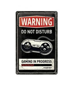 Warning gaming - metalen bord