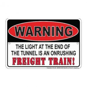 Warning train - metalen bord