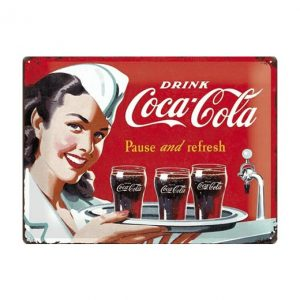 Coca Cola pause and refresh - metalen bord