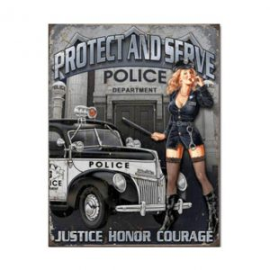 Protect and service police - metalen bord
