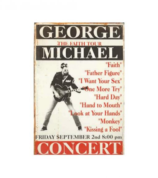 George Michael faith tour - metalen bord