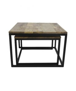 Industriele salontafel set Danyl zwart metaal - HSM Collection