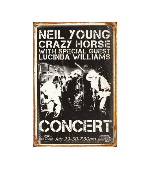 Neil Young concert - metalen bord