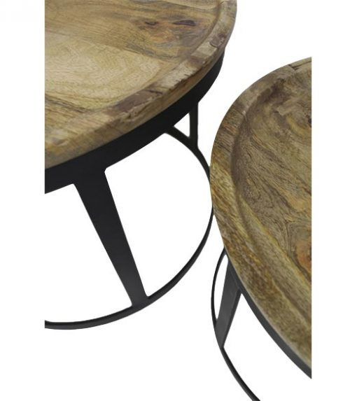 Ronde salontafel set industrieel Gray - HSM Collection