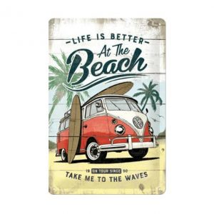 Volkswagen Life is better at the beach - metalen bord