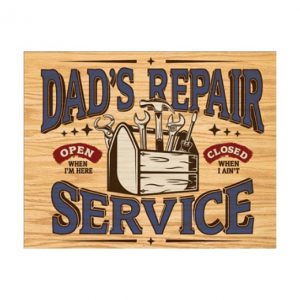 Dad's repair shop - metalen bord
