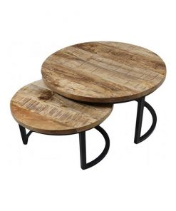 Ronde salontafel set Jimmy industrieel