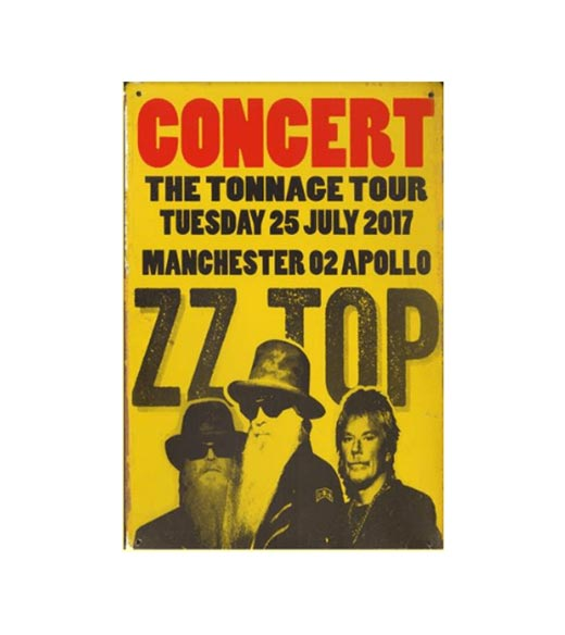 ZZ TOP tonnage tour - metalen bord