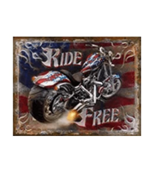 Free Ride motor USA - metalen bord