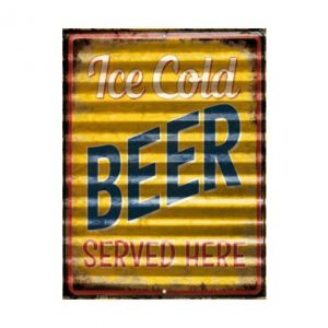 Ice cold beer served here 20 x 30cm - metalen bord