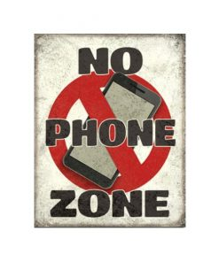 No Phone Zone - metalen bord