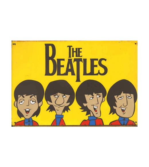 The Beatles cartoon - metalen bord