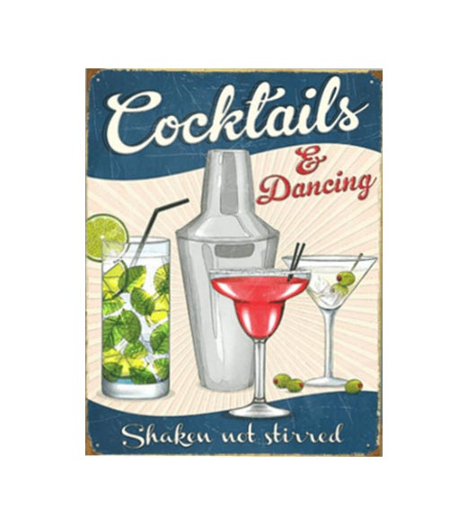 Cocktails & dancing - metalen bord