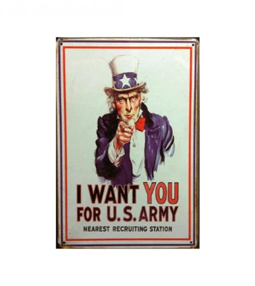 I want you U.S. army - metalen bord