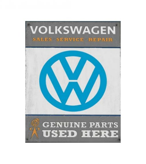 Volkswagen Genuine Parts used here - metalen bord