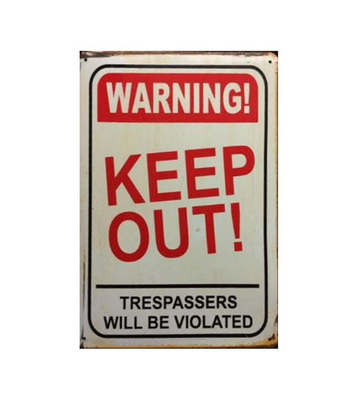 Warning keep out - metalen bord