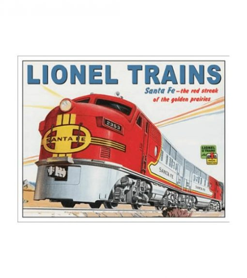 Lionel trains Santa fe - metalen bord