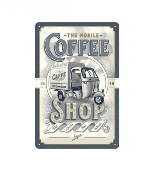 The mobile coffee shop - metalen bord