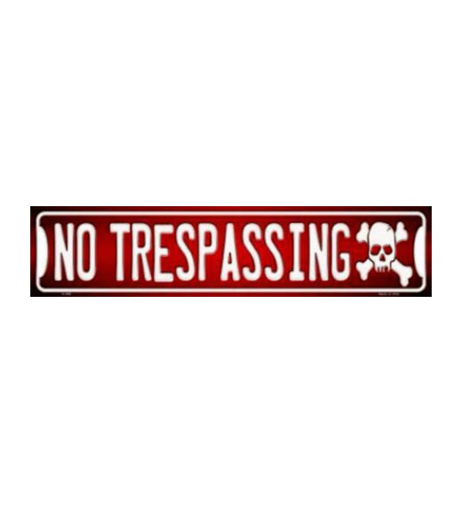 No trespassing straatbord 10 x 45cm