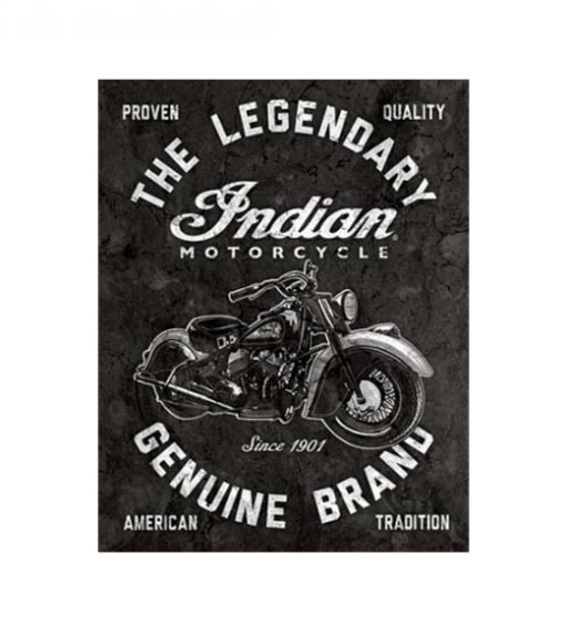 The legendary Indian Motorcycle - metalen bord