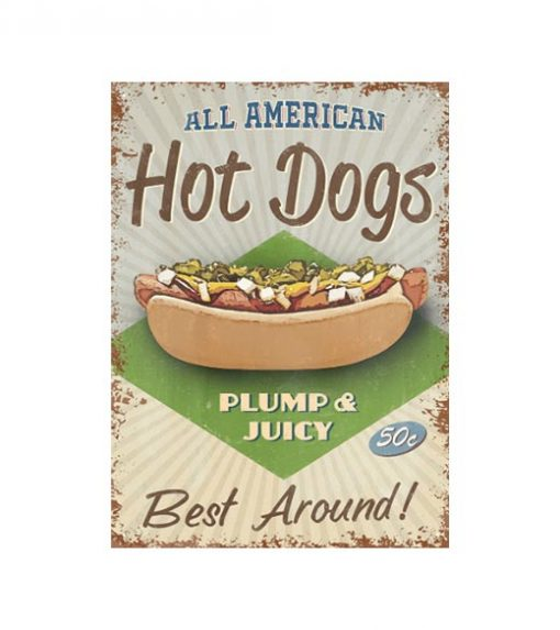All American hot dogs - metalen bord