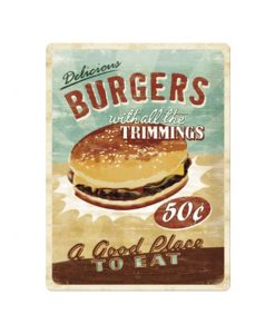 Burgers with all the trimmings - metalen bord
