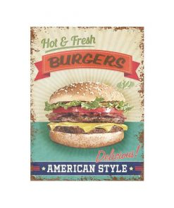 Hot fresh burgers - metalen bord