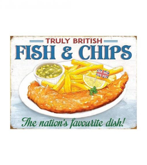 Truly British Fish chips - metalen bord