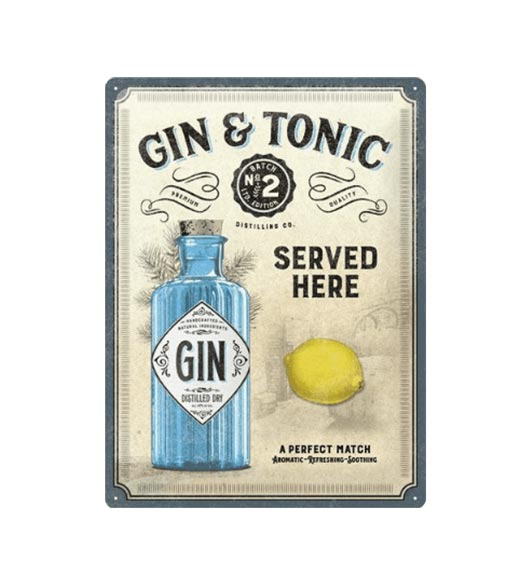 Gin tonic served here - metalen bord