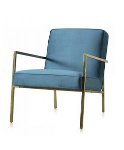Velours fauteuil Abby blauw