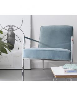 Velours fauteuil Abby lichtblauw