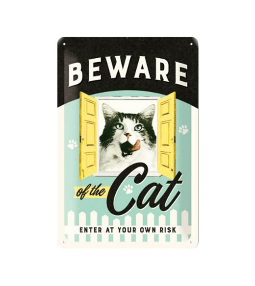 Cat enter at your own risk - metalen bord